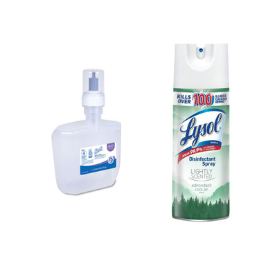 Scott Control Super Moisturizing Foam Hand Sanitizer, 1,200 ml, Clear, and Lysol Lightly Scented Disinfectant Spray, Adirondack Cool Air, 19 oz - Part Number: KIT-LYSOL-16