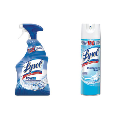 Lysol Disinfectant Bathroom Cleaner with 10X Soap Scum Fighting Power, 32oz Spray Bottle, and Lysol Disinfectant Spray, Crisp Linen Scent, 19oz Aerosol - Part Number: KIT-LYSOL-32