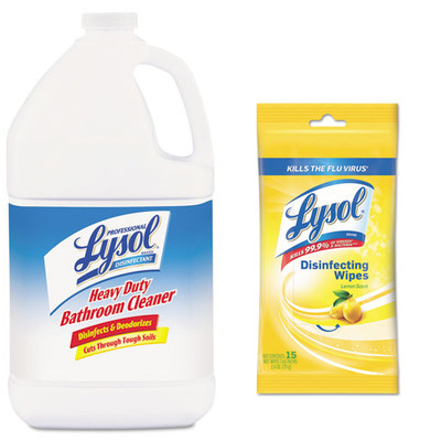 Lysol Disinfectant Heavy-Duty Bathroom Cleaner Concentrate, 1 gal Bottle, and Case of 24 - Lysol Disinfecting Wipes, 7 x 8, Lemon, 15 Wipes/Pack - Part Number: KIT-LYSOL-37