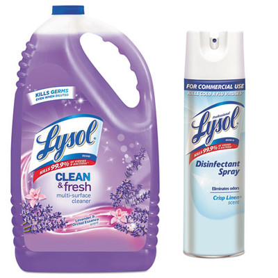 Lysol Clean and Fresh Multi-Surface Cleaner and Disinfectant, Lavender and Orchid Essence, 144 oz Bottle, and Case of 12 - Lysol Disinfectant Spray, Crisp Linen, 19oz Aerosol Cans - Part Number: KIT-LYSOL-44