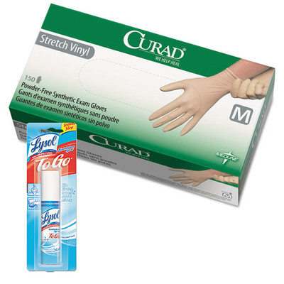 Curad Stretch Vinyl Exam Gloves, Powder-Free, Medium, 150/Box, and Lysol Disinfectant Spray To Go, Crisp Linen, 1oz Aerosol - Part Number: KIT-LYSOL-50