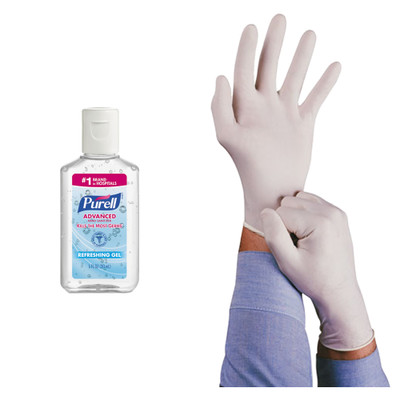 Disinfecting kit - Purell Advanced Hand Sanitizer Refreshing Gel, Clean Scent, 1 oz Bottle & Ansell Conform Natural Rubber Latex Gloves, 5 mil, Large, 100/Box - Part Number: KIT-PURELL-04