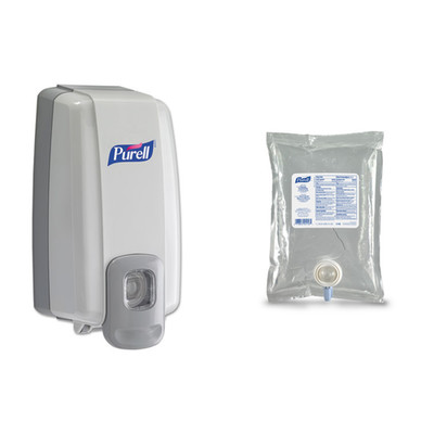 Purell NXT SPACE SAVER Dispenser, 1000 mL, 5.13 x 4 x 10 inches, White/Gray, and Purell Advanced Instant Hand Sanitizer NXT Refill, 1000mL - Part Number: KIT-PURELL-08