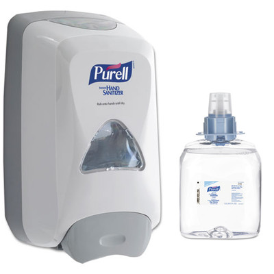 Purell FMX-12 Foam Hand Sanitizer Dispenser, 6.6 x 5.13 x 11 inches, White, and Case of 4 - Purell Advanced Hand Sanitizer Foam FMX-12 Refill, 1200 mL - Part Number: KIT-PURELL-11