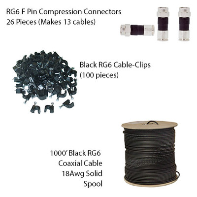 RG6 Bulk Cable Kit, includes: 1000 foot RG6 Spool, RG6 F-Pin Compression Connectors and Cable Clips - Part Number: KIT-RG6001