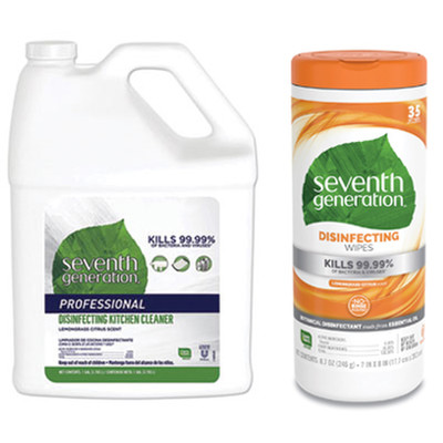 Seventh Generation Disinfecting Kitchen Cleaner, Lemongrass Citrus, 1 Gallon Bottle, and Case of 12 - Seventh Generation Botanical Disinfecting Wipes, 8 x 7, White, 35 Sheets/Canister - Part Number: KIT-SEVGEN-2