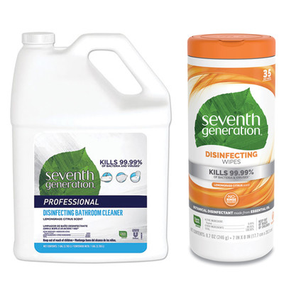 Seventh Generation Disinfecting Bathroom Cleaner, Lemongrass Citrus, 1 gal Bottle, and Case of 12 - Seventh Generation Botanical Disinfecting Wipes, 8 x 7, White, 35 Sheets/Canister - Part Number: KIT-SEVGEN-4
