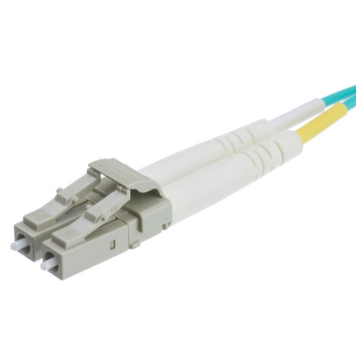 Plenum 10 Gigabit Aqua LC/LC OM3 Multimode Duplex Fiber Optic Cable, 50/125, 2 meter (6.6 foot) - Part Number: LCLC-31002-PL