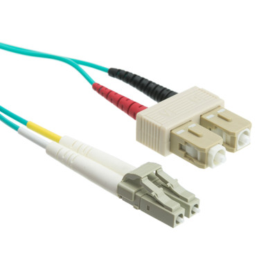 10 Gigabit Aqua Fiber Optic Cable, LC / SC, Multimode, Duplex, 50/125, 3 meter (10 foot) - Part Number: LCSC-31003