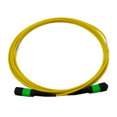 Plenum Fiber Optic Cable, MTP / MTP (MPO), Singlemode, Duplex, 12 Strand, 40/100 Gbps, 9/125, 2 meter (6.6 foot) - Part Number: MPMP-21002