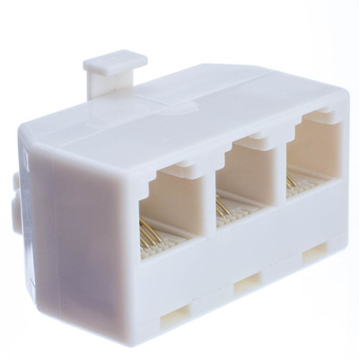 Telephone Jack Line Separator, RJ11/RJ12 Male to 3 RJ11/RJ12 Female, Line 1, Line 2, Line 1 and 2 - Part Number: PA-6P4C-3