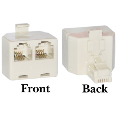 Phone Splitter (Straight), RJ11 6P4C Male to 2 RJ11 6P4C Female - Part Number: PA-6P4C-ST