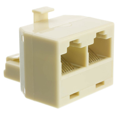 Phone Splitter (Straight), RJ45 8P8C Male to 2 RJ45 8P8C Female - Part Number: PA-8P8C-ST