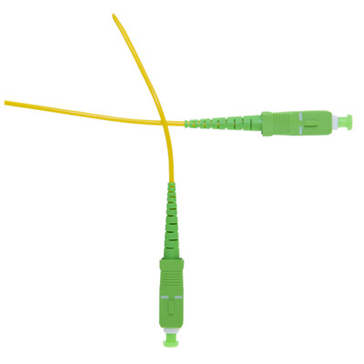 Fiber Optic Cable, SC/APC, Singlemode, Simplex, 9/125, Yellow Jacket, Green Boot 15 meter (49.2 foot) - Part Number: SCSC-00315