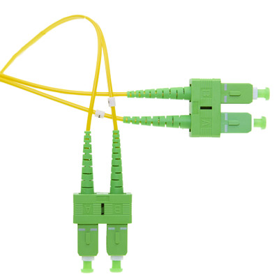 Fiber Optic Cable, SC/APC, Singlemode OS2, Duplex, 9/125, Yellow Jacket, Green Boot, 1 meter (3.3 foot) - Part Number: SCSC-01301