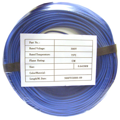 Security/Alarm Wire, Blue, 22/4 (22AWG 4 Conductor), Solid, CMR / Inwall rated, Coil Pack, 500 foot - Part Number: 10K4-0461CF