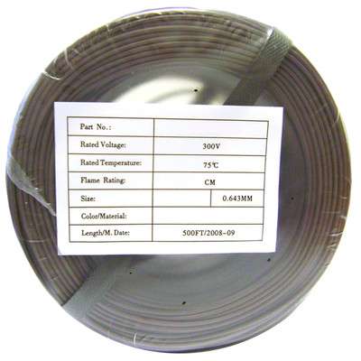 Security/Alarm Wire, Brown, 22/4 (22AWG 4 Conductor), Solid, CMR / Inwall rated, Coil Pack, 500 foot - Part Number: 10K4-0432CF
