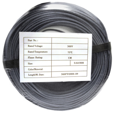 Security/Alarm Wire, Gray, 22/4 (22AWG 4 Conductor), Solid, CMR / Inwall rated, Coil Pack, 500 foot - Part Number: 10K4-0421CF