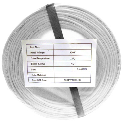 Security/Alarm Wire, White, 22/4 (22AWG 4 Conductor), Solid, CMR / Inwall rated, Coil Pack, 500 foot - Part Number: 10K4-04912CF