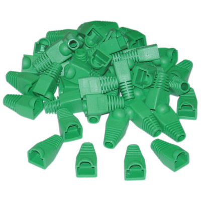 RJ45 Strain Relief Boots, Green, 50 Pieces Per Bag - Part Number: SR-8P8C-GR
