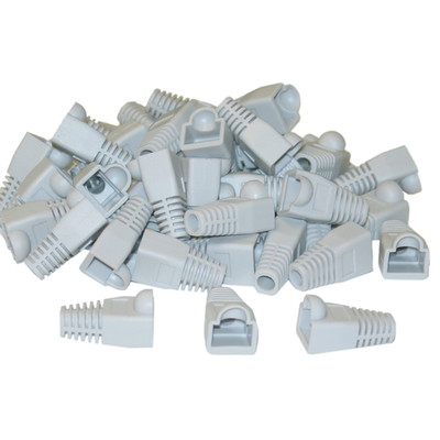 RJ45 Strain Relief Boots, Gray, 50 Pieces Per Bag - Part Number: SR-8P8C-GY