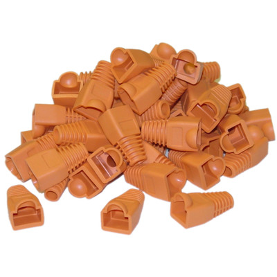 RJ45 Strain Relief Boots, Orange, 50 Pieces Per Bag - Part Number: SR-8P8C-OR