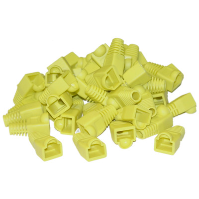 RJ45 Strain Relief Boots, Yellow, 50 Pieces Per Bag - Part Number: SR-8P8C-YL