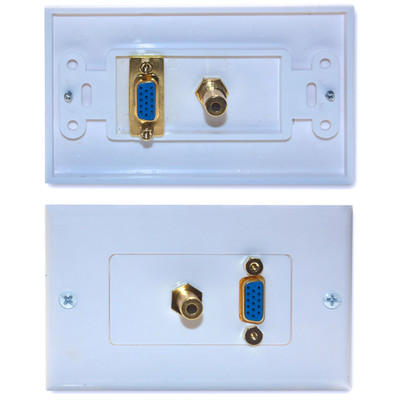 Wall Plate, White, VGA and 3.5mm Stereo Jack, HD15 Female and 3.5mm Female - Part Number: 301-29100
